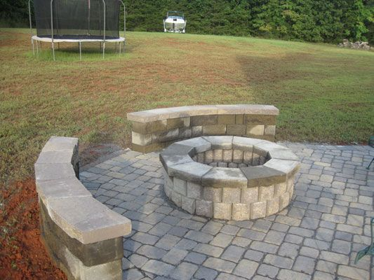 paver patio with fire pit. Artistic Hardscape Inc - Paver Patio Extention And Firepit Rual Hall, NC With Fire Pit