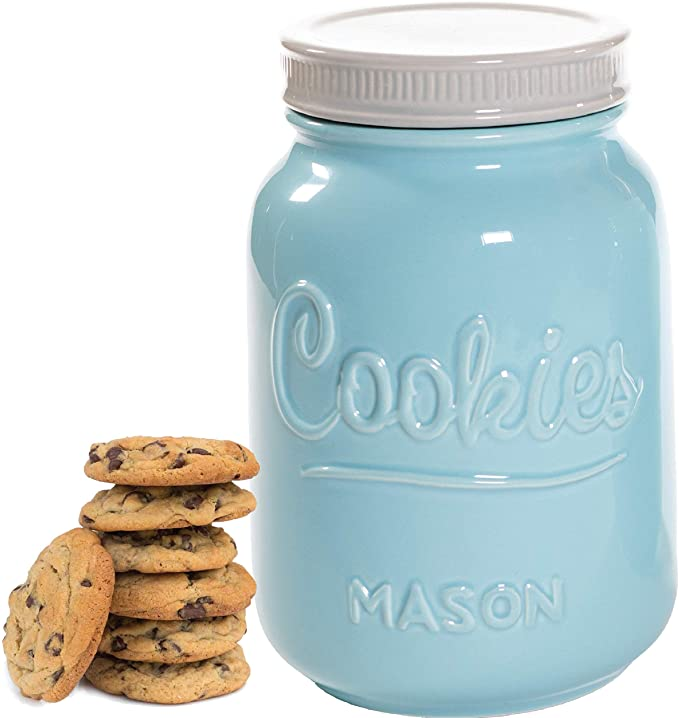 Amazon Com Mason Cookie Jar With Lid Large Airtight Ceramic Kitchen Canister Vintage Farmhou Ceramic Kitchen Canisters Mason Jar Kitchen Ceramic Mason Jar