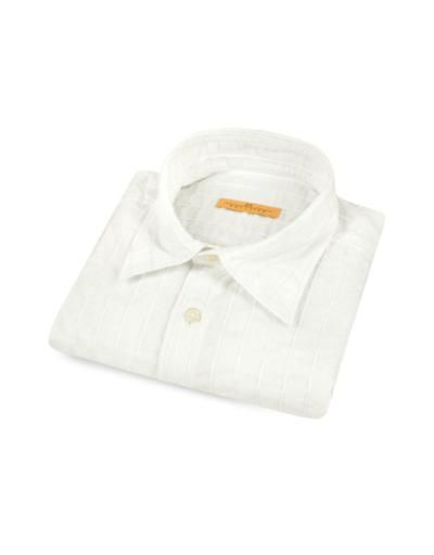 DS Reaction Camicia in cotone bianca con collo classico a righe textured #shirt #covetme #dsreaction