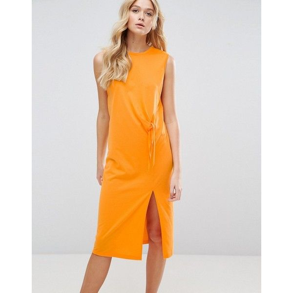 dd63d720ddcc9 ASOS Sleeveless Midi Dress with Raw Edge & Tie Front (€27) ❤ liked ...