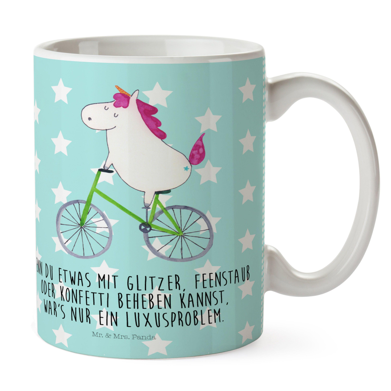 Kunststoff Tasse Einhorn Radfahrer aus Kunststoff  Weiß - Das Original von Mr. & Mrs. Panda.  Unsere Kunststoff Tasse sind einfach perfekt für Kinder oder für deinen nächsten Ausflug - wir empfehlen die Handwäsche für dieses besondere Produkte. Unsere bruchfesten Tassen haben eine Höhe von 90 mm und eine Breite von 80mm.    Über unser Motiv Einhorn Radfahrer  Das Radfahrer-Einhorn zeigt, dass die Welt doch gar nicht so schlecht ist. Die meisten Probleme lösen sich zum Glück in Glitzer und…