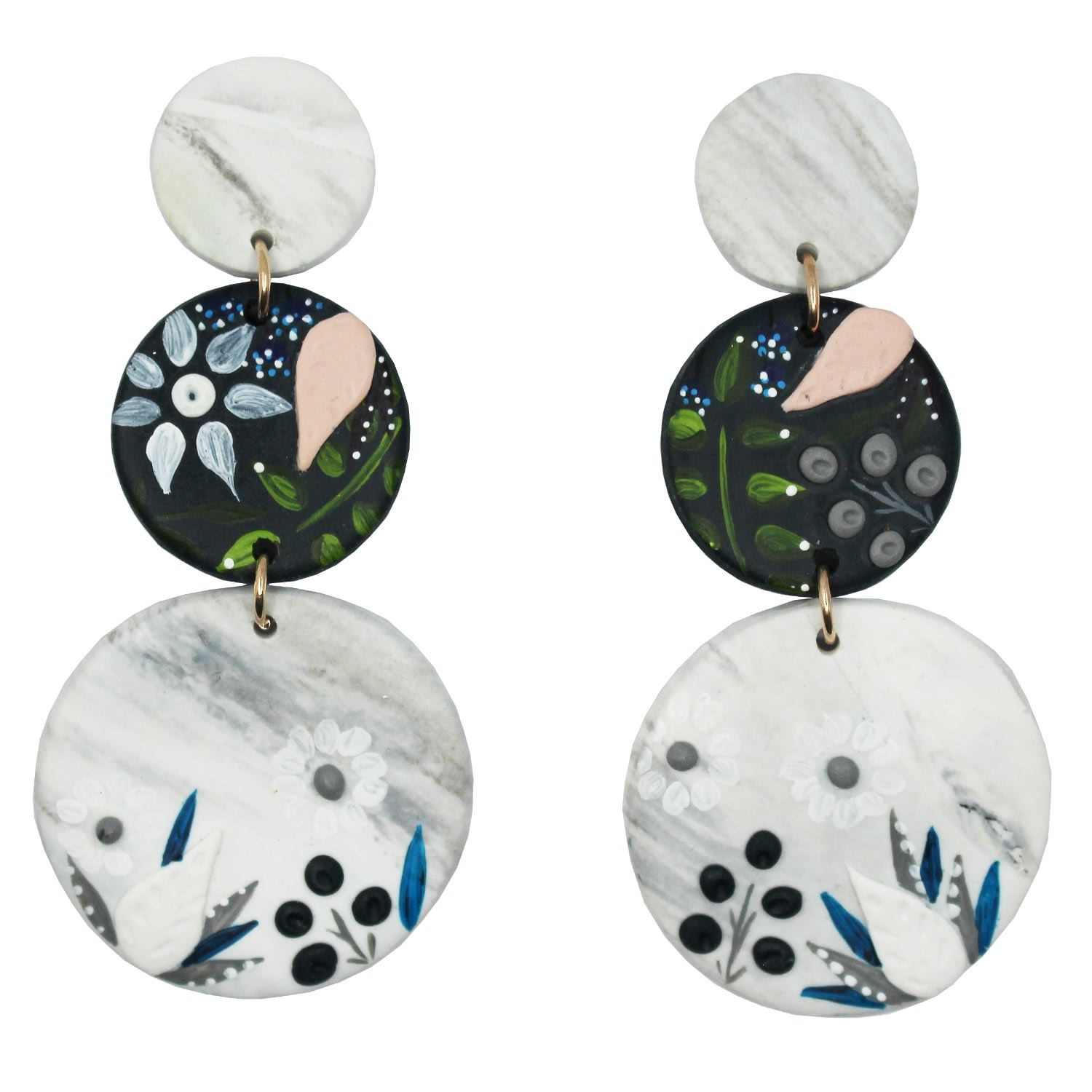 Polymer Clay Studded Drop Earrings White and Gold Marble Earrings
