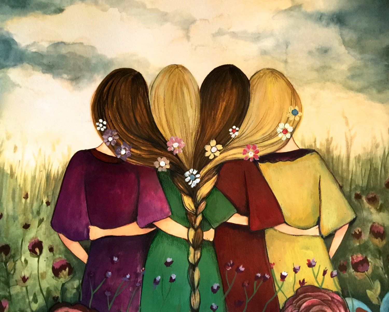 Four sisters best friendsbridesmaids present art print ...