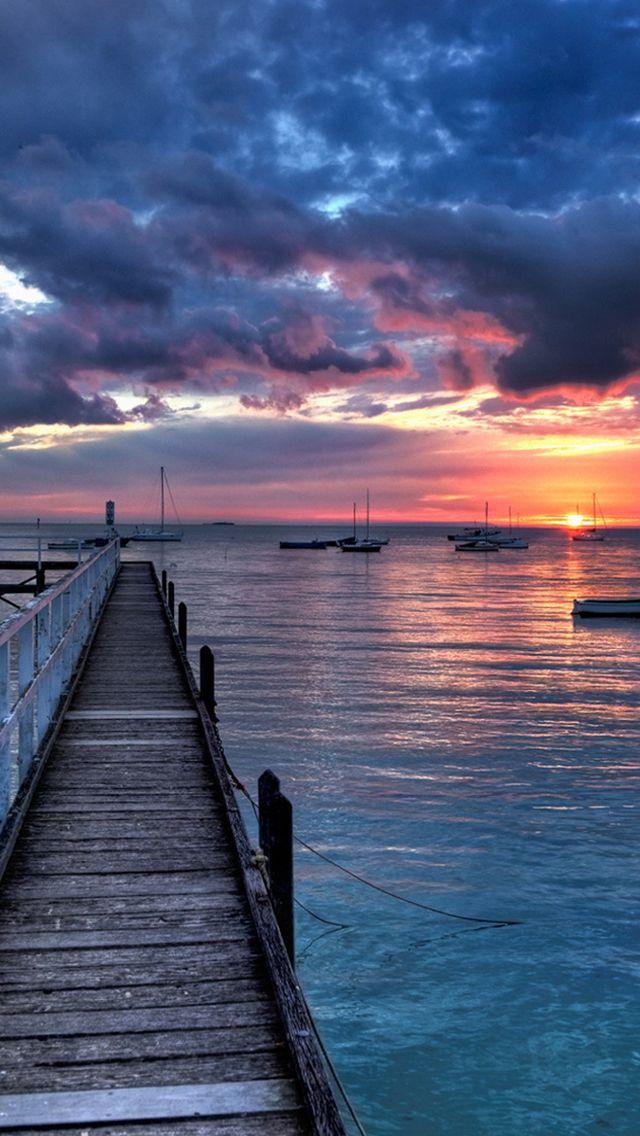 Boats Sunset Iphone 5s Wallpaper Paisajes Fondos De