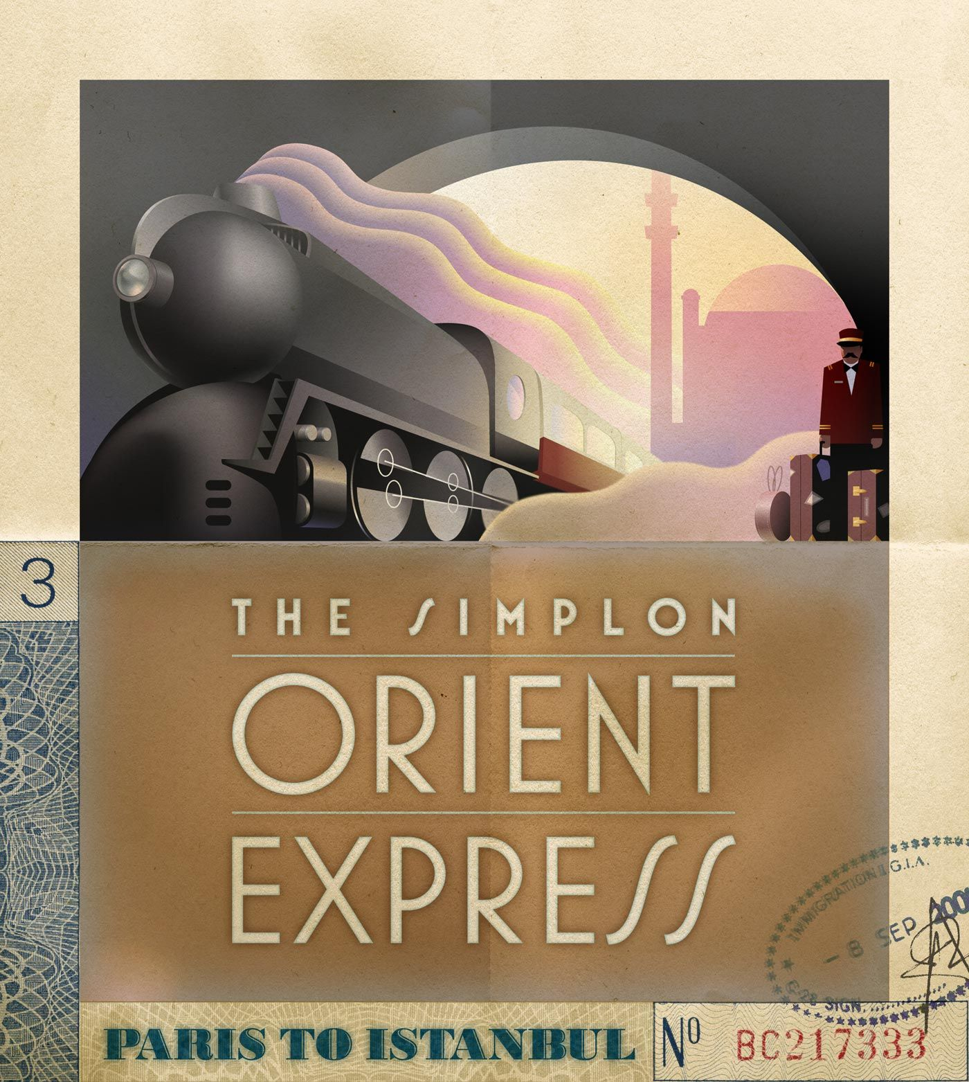 deco style orient express poster illustration copyright. Black Bedroom Furniture Sets. Home Design Ideas