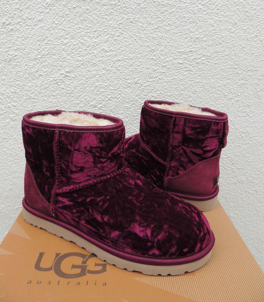 UGG BURGUNDY WINE CLASSIC MINI VELVET SHEEPSKIN BOOTS, WOMENS US 10/ EUR 41 ~