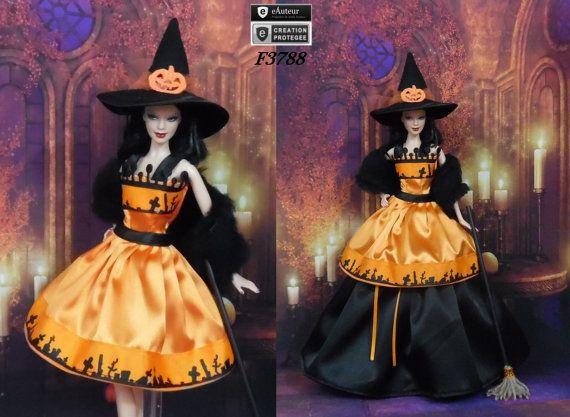 "Outfit Barbie "" Halloween N11 "" Robe sorcière d'Halloween pour poupée Barbie Silkstone Fashion Royalty f3788"