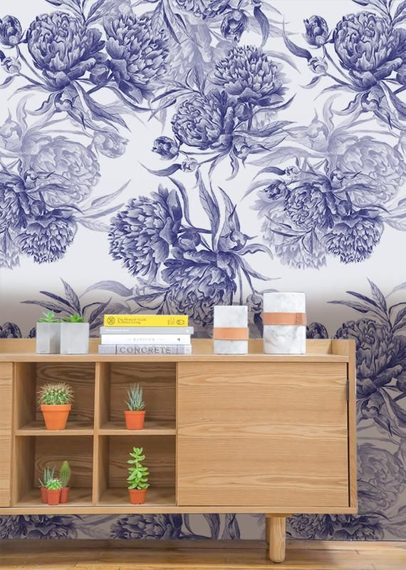 Blue Peonies | Removable Wallpaper | Pattern #177 #bluepeonies