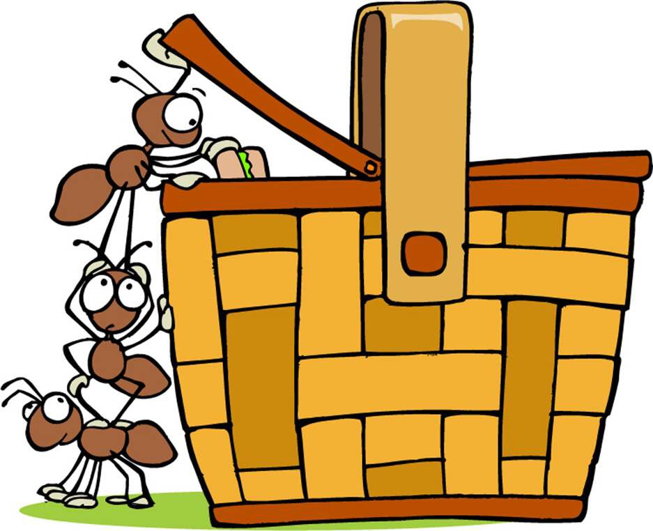 Picnic Basket With Ants Clip Art