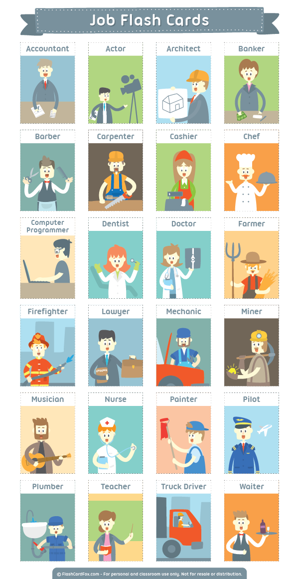 Free Printable Job Flash Cards Download Them In Pdf Format At Http Flashcardfox Com Download J English Lessons For Kids Learning English For Kids Flashcards