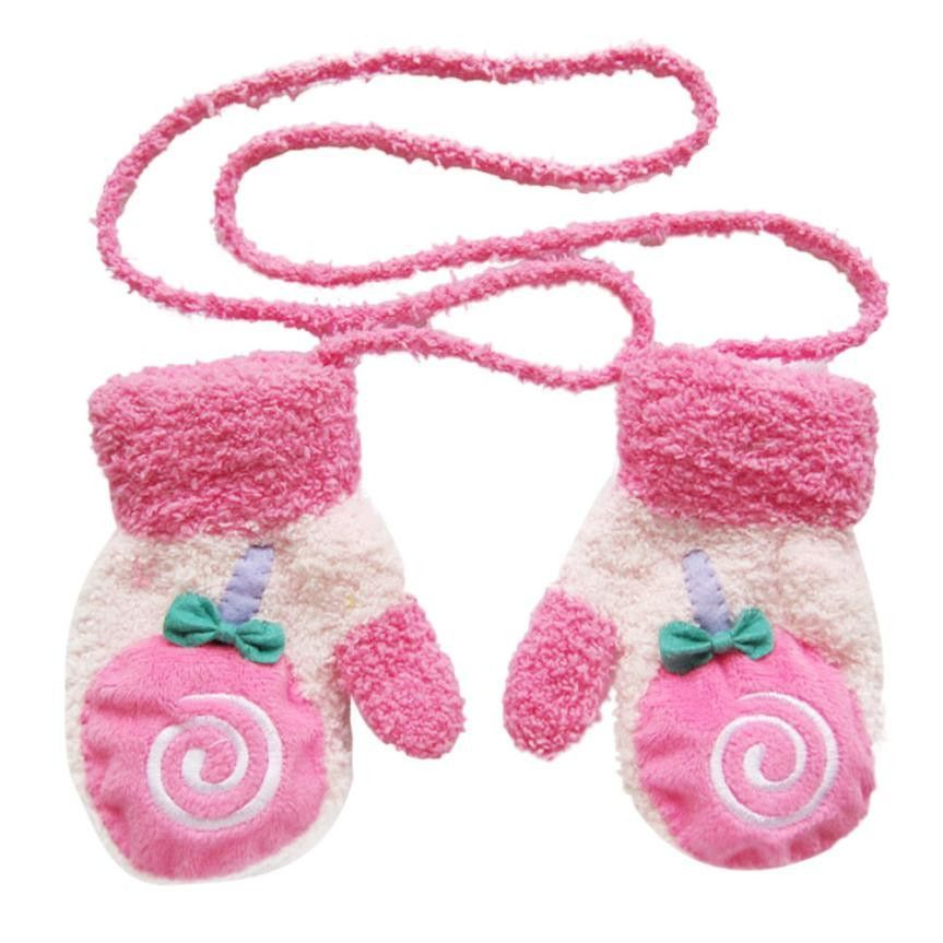 Baby Boy Girl Autumn Winter Warm Knit Gloves Red