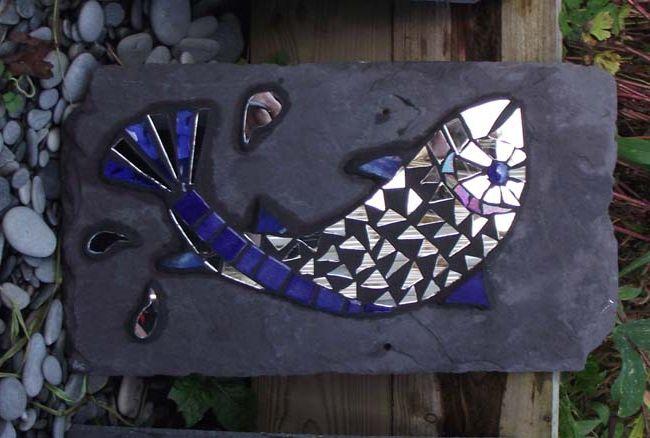 Fish on slate by mosaic artist Jan Kilpatrick