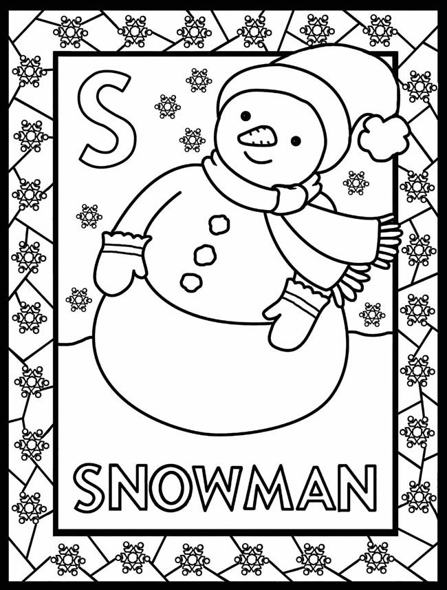 ABC coloring page, snowman kids coloring \ activity pages - new christmas abc coloring pages