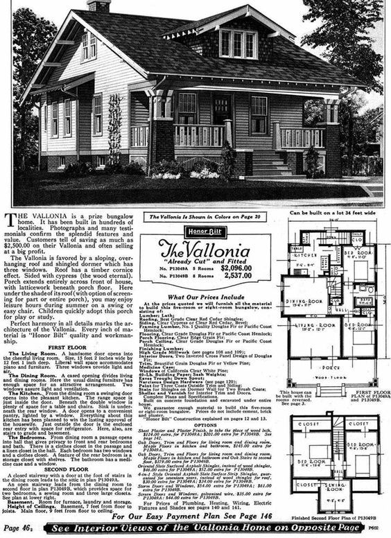 Sears Homes 1908 To 1940 Bungalow House Plans Craftsman House Vintage House Plans