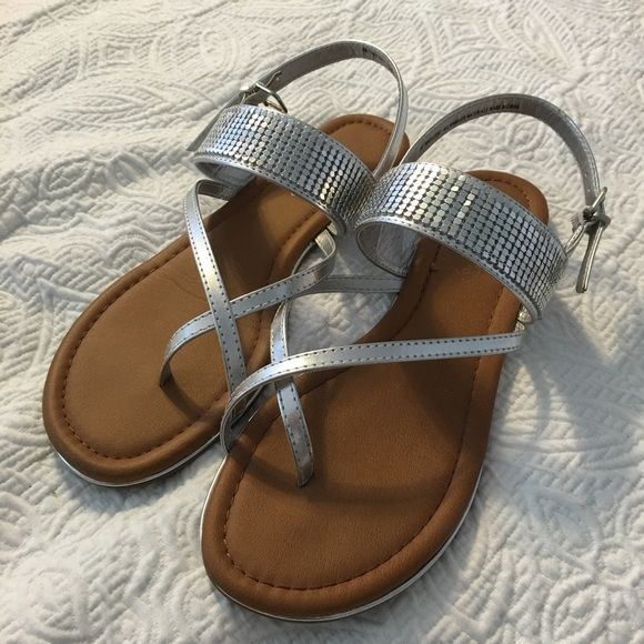 5b224dd6b9627c Metallic Silver Sandals Size 8 Cute Madeline Stuart silver metallic sandals  - perfect for summer!! Worn once - wrong size.... Madeline Stuart Shoes  Sandals