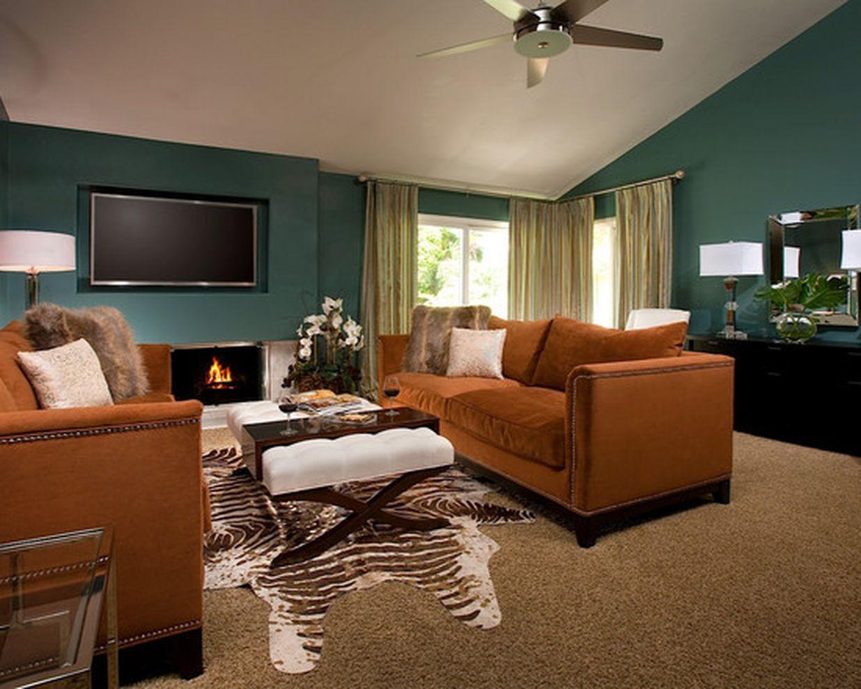 53 Adorable Burnt Orange And Teal Living Room Ideas   Teal ...