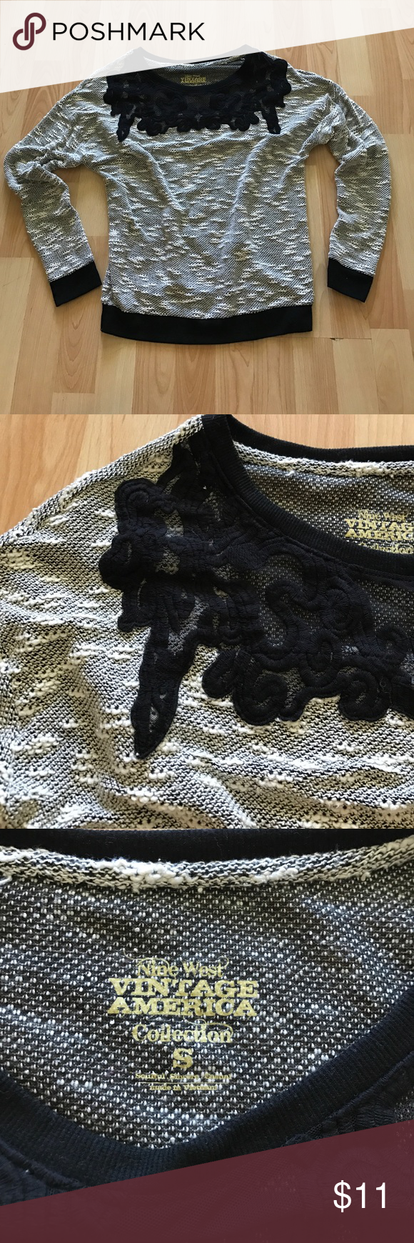 Nine West Vintage America Collection black Top S Nine West vintage America collection top.  Size small.  Black and white colors.  Chunky knit/lightweight sweater.  Beautiful black lace neckline design.  Long sleeve. Nine West Tops