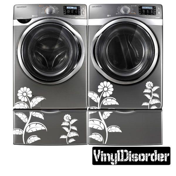 Washing Machine Decal Floral Design Vinyl Decal Car Decal - Vinyl decals car wash