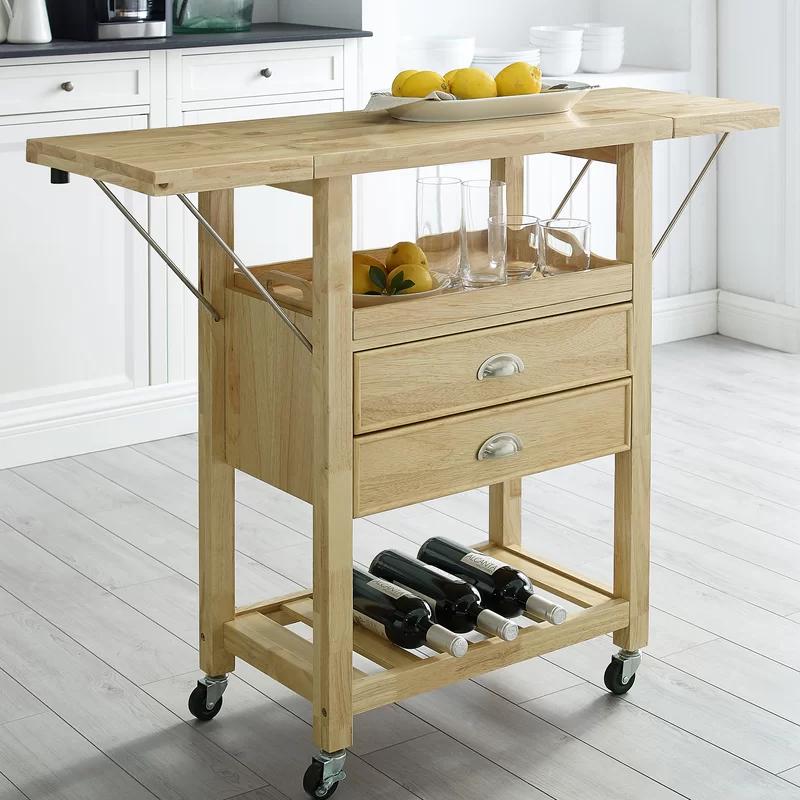 Watley Drop Leaf Kitchen Cart Kitchen Cart Kitchen Island With Butcher Block Top Rolling Kitchen Island