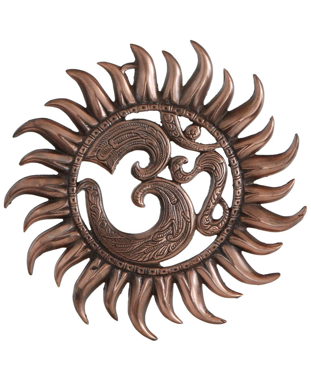 Om Sun Wall Hanging With Copper Colored Finish Buddha Wall Art Wall Hanging Groove Metal