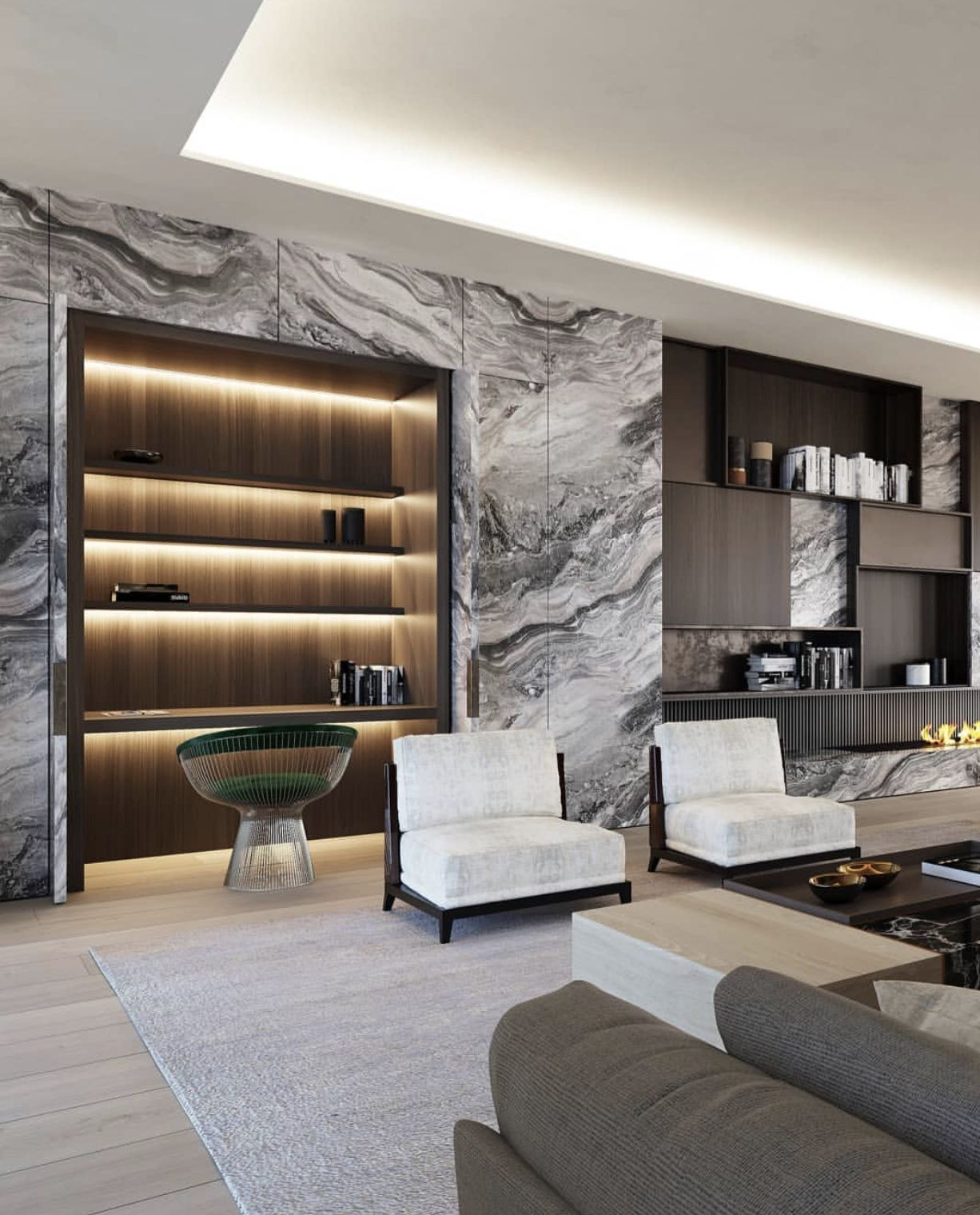 Stunning Living Room With Marble Wall Built In Shelving Built In