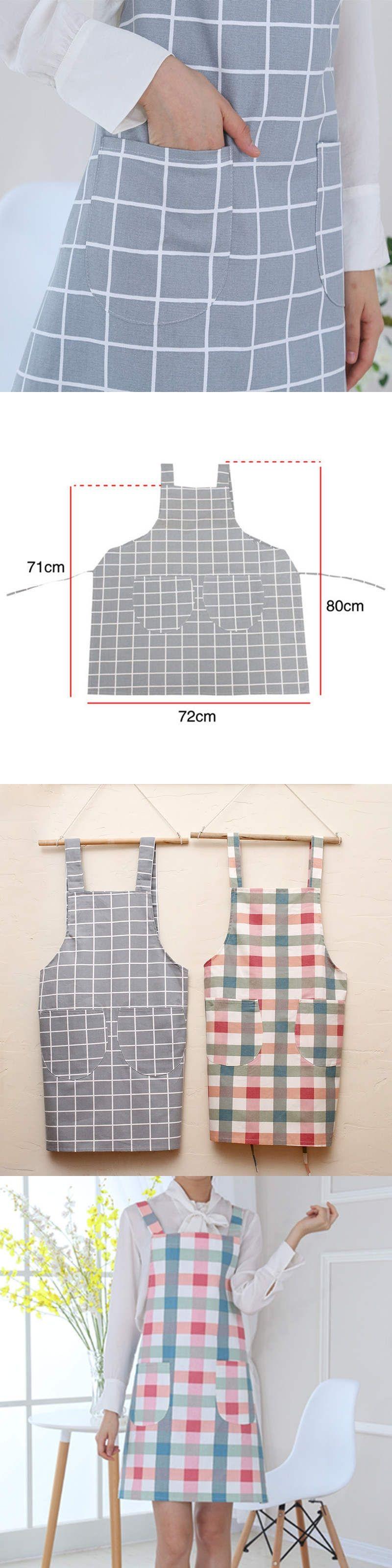 Doreenbeads antifouling apron grid checkered pattern kitchen
