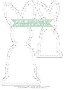Lapin de Pâques noir et blanc avec motif de couture gratuit   – deko