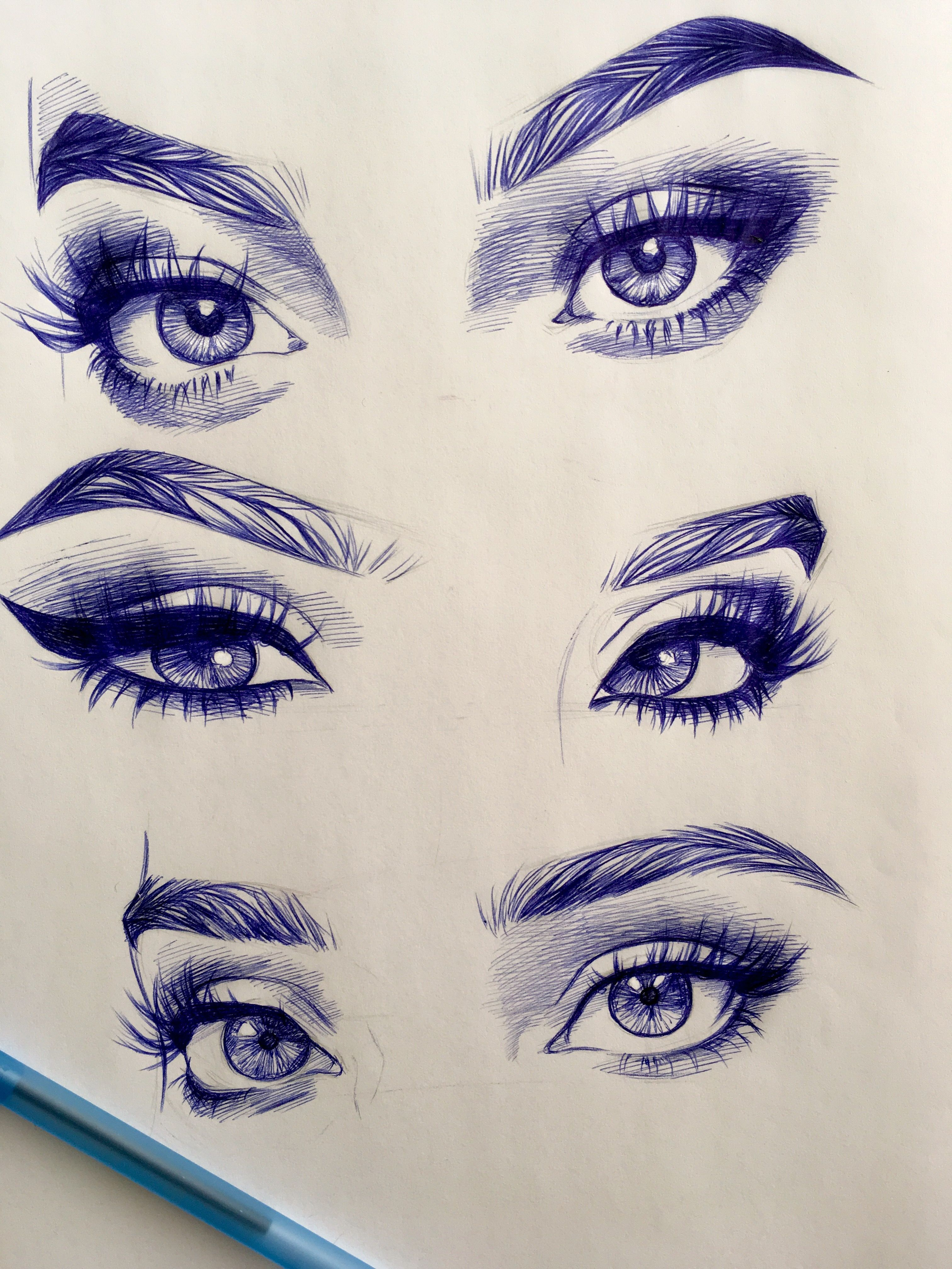 Beginners Eye Makeup: Drawing Eyes Sketch Makeup Art Eyelashes Easy Beginners