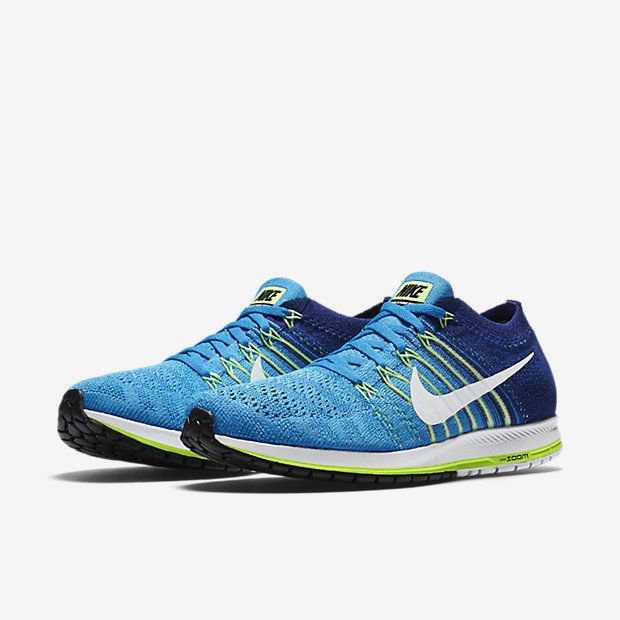 Nike Zoom Flyknit Streak 6 Running Shoes Mens 10.5 Blue Glow White 835994  414