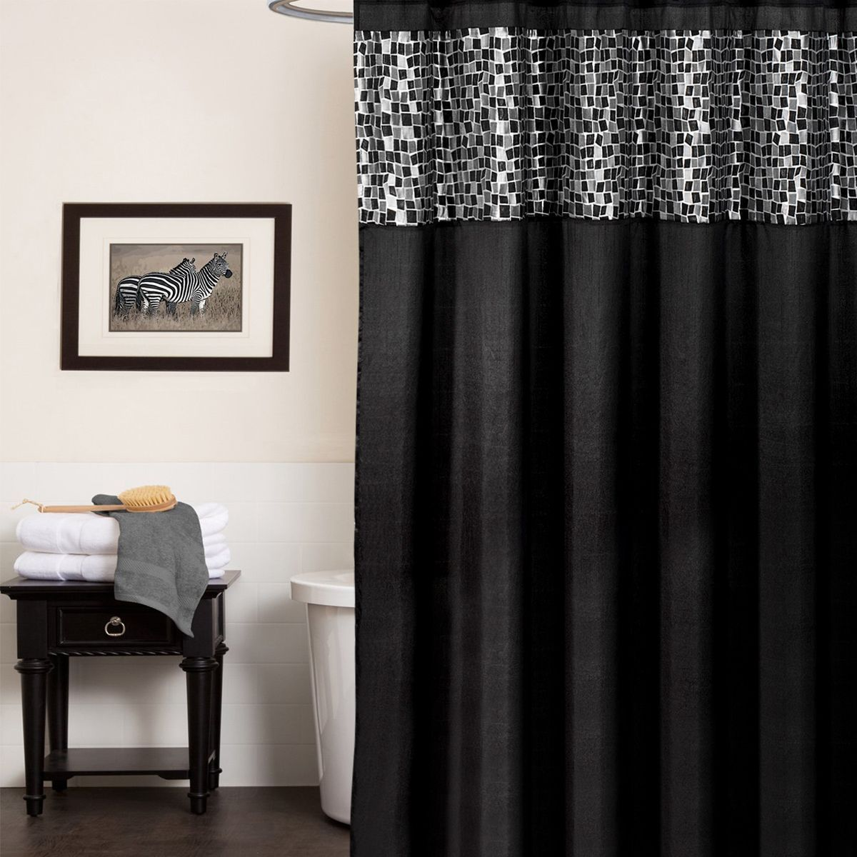 Update your bathroom with this classic tile patchwork shower curtain