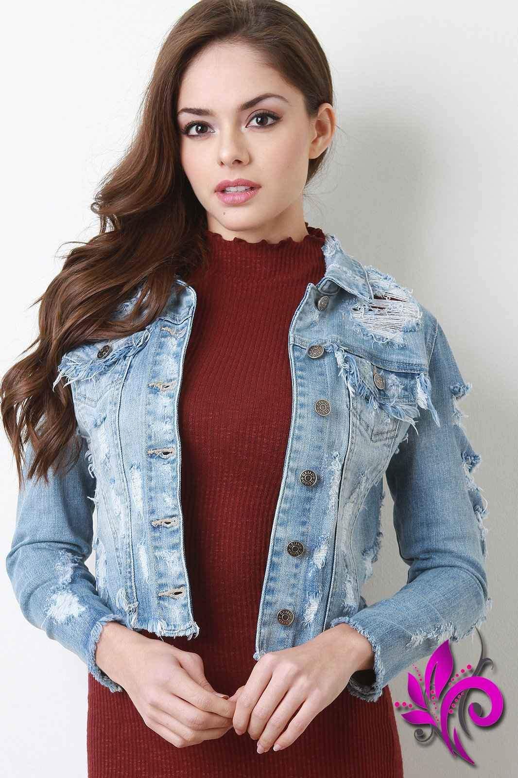 9ee8ce6842c Distressed Raw Hem Cropped Denim Jacket | I love you Oralia in 2019 ...