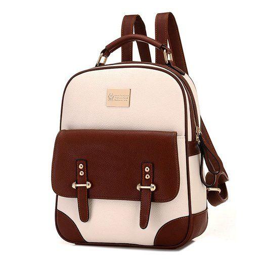 96496c983b INAEONG Donne Retro Elegante Litchi Profilo Contrasto Colore Zaini Nero:  Amazon.it: Scarpe e borse