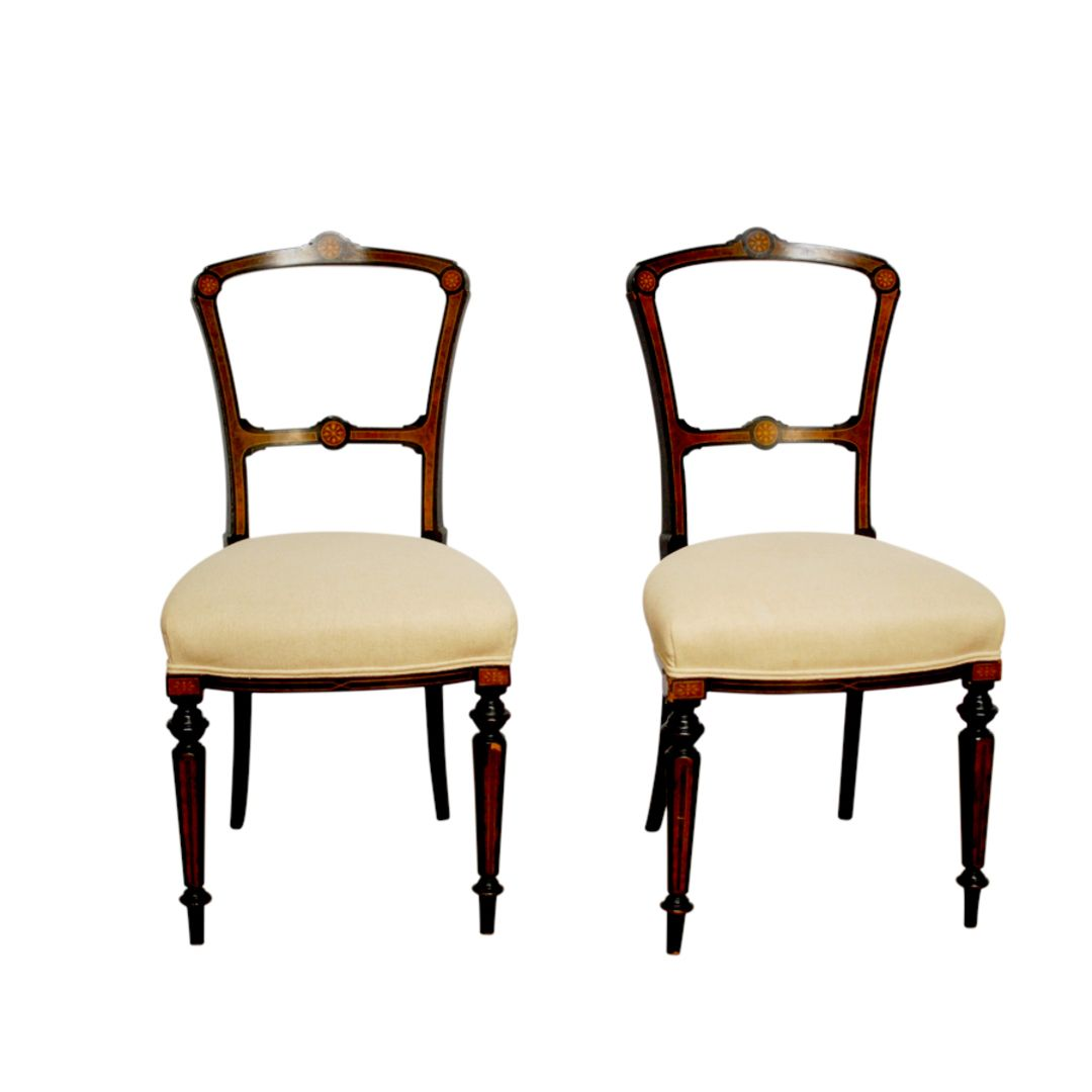Pair of Antique Inlaid Edwardian Chairs