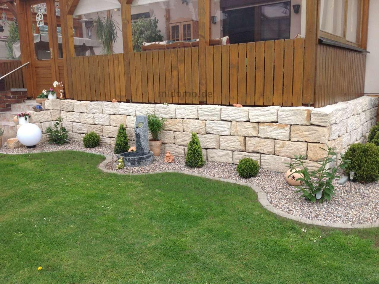 Bildergebnis für garten steinmauer Gartenmauer stein