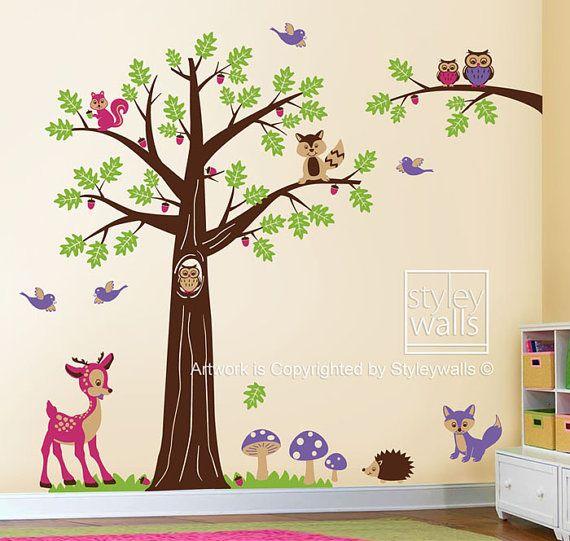 Owls Jungle Animals Wooden Bedroom Furniture Kids: Woodland Tree Animals Wall Decal, Nursery Wall Decal