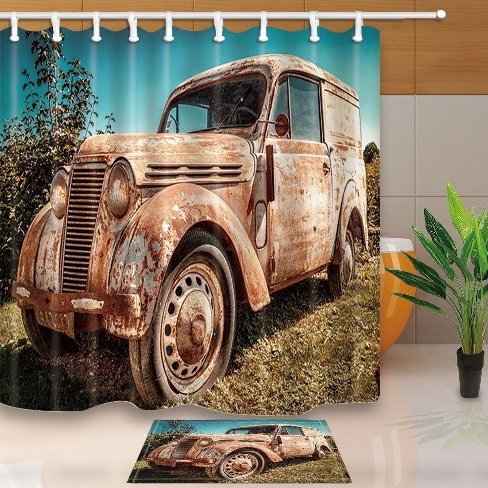 Old Cars Decor Vintage Abandoned Cars on Farm Shower Curtain 66x72 inches with Floor Doormat Bath Rugs 15.7x23.6 inches