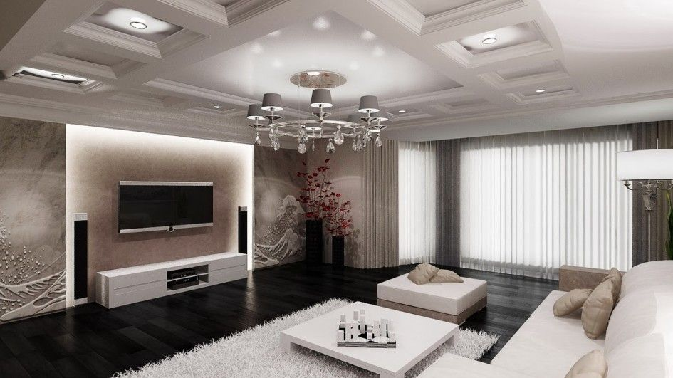 Living Room Alluring Interior Featuring TV With Granite Wall Decor Back Lighting