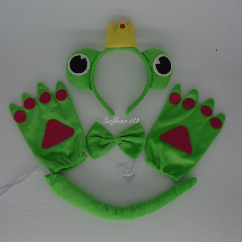 2017 Kids Princess Green Frog Animal Headband Ears Bow Tie Tail Paws - halloween party decorations adults