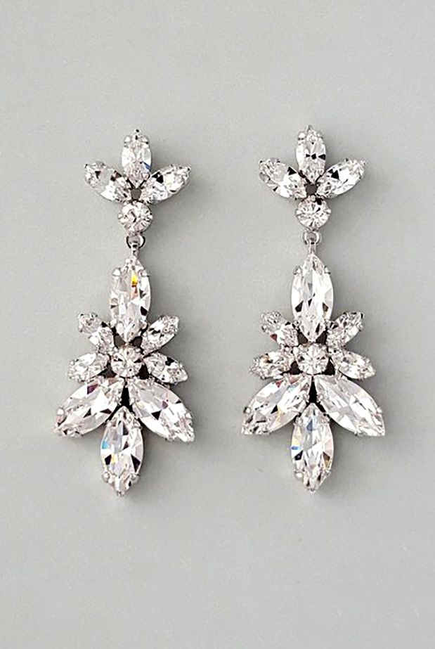 Claudia Leaf Crystal Chandelier Earrings Bridal Jewelry Leaves And Crystals