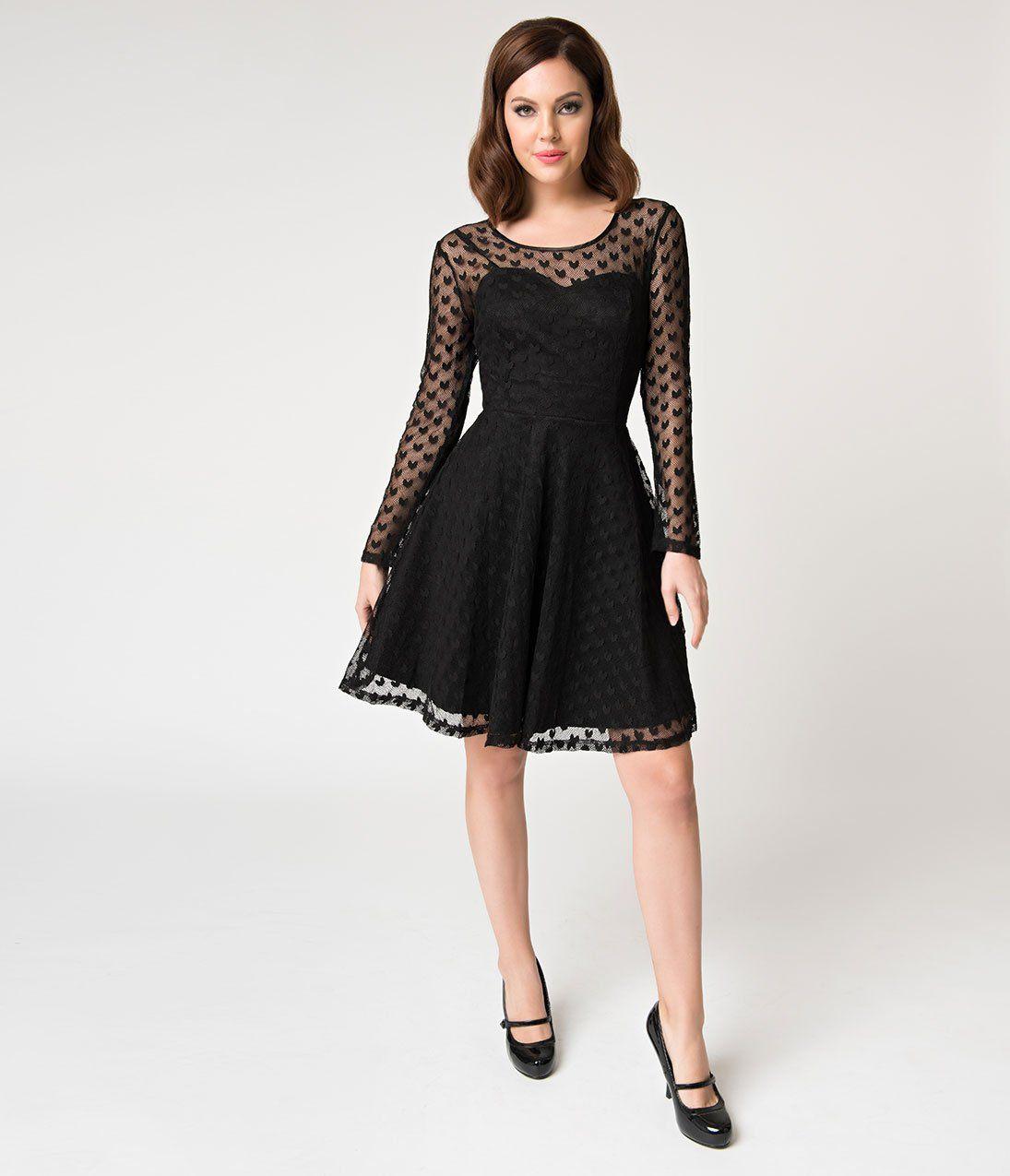 Black Mesh Heartcore Swiss Dotted Long Sleeved Fit Flare Dress Unique Vintage Fit Flare Dress Flare Dress Dresses [ 1275 x 1095 Pixel ]