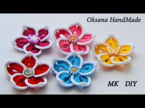простые цветы крючком мастер класс Simple Crochet Flowers
