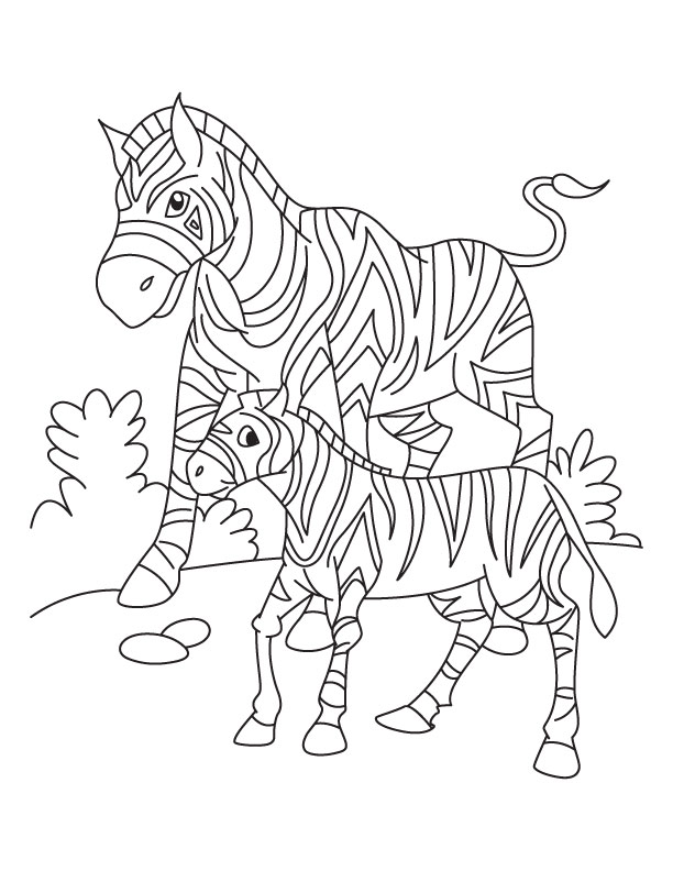 A Zebra With Her Young Looking For Grass In South Africa Coloring Page In 2020 Zebra Coloring Pages Animal Coloring Pages Coloring Pages
