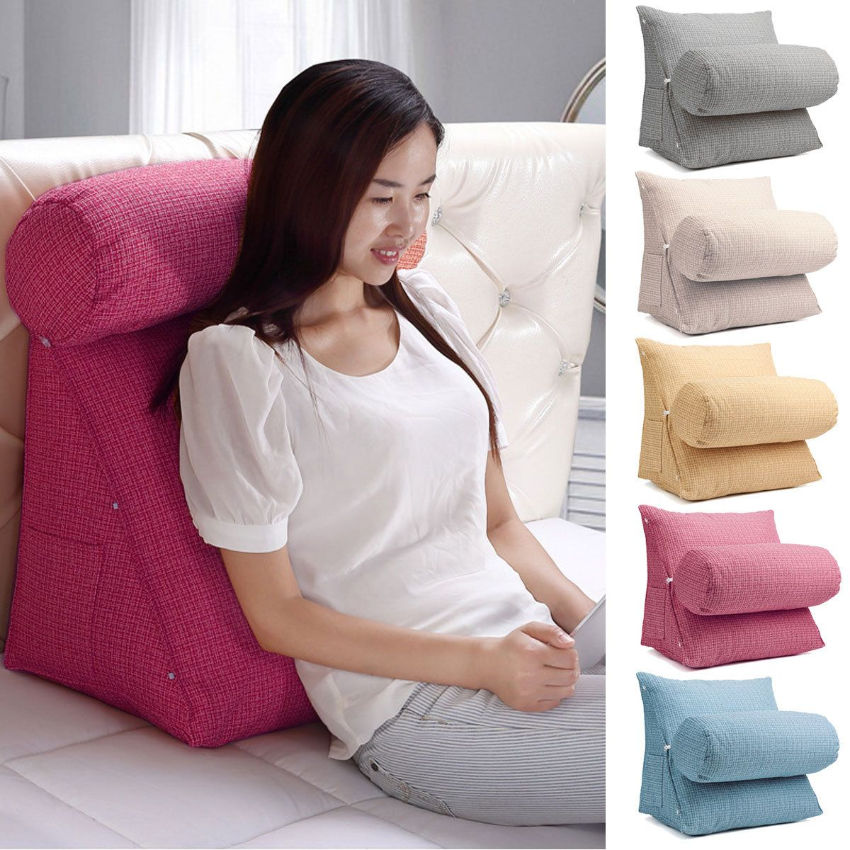 Adjustable Sofa Bed Chair Office Rest Neck Support Wedge Back Lumbar Pillow NEW