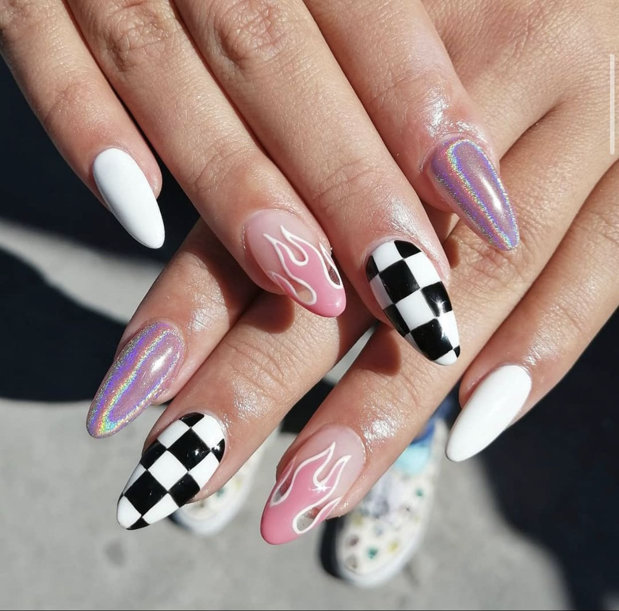 Trendy Edgy Checkered Glitter Flame Stiletto Acrylic Nails In 2020 Grunge Nails Checkered Nails Edgy Nails