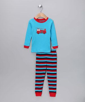 This Blue & Red Fire Truck Pajama Set - Infant, Toddler & Kids by Leveret is perfect! #zulilyfinds