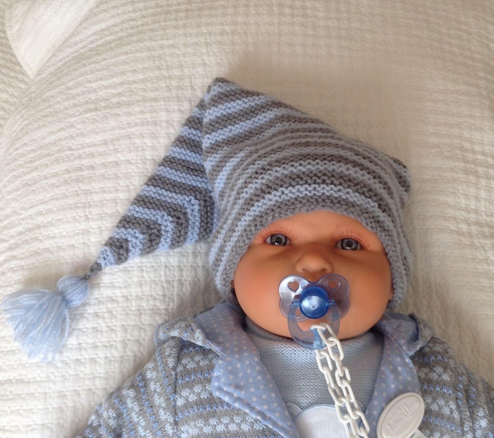 Bonnet lutin en laine pour b b taille naissance gris et bleu tricot pinterest lutins - Modele de bonnet a tricoter facile ...
