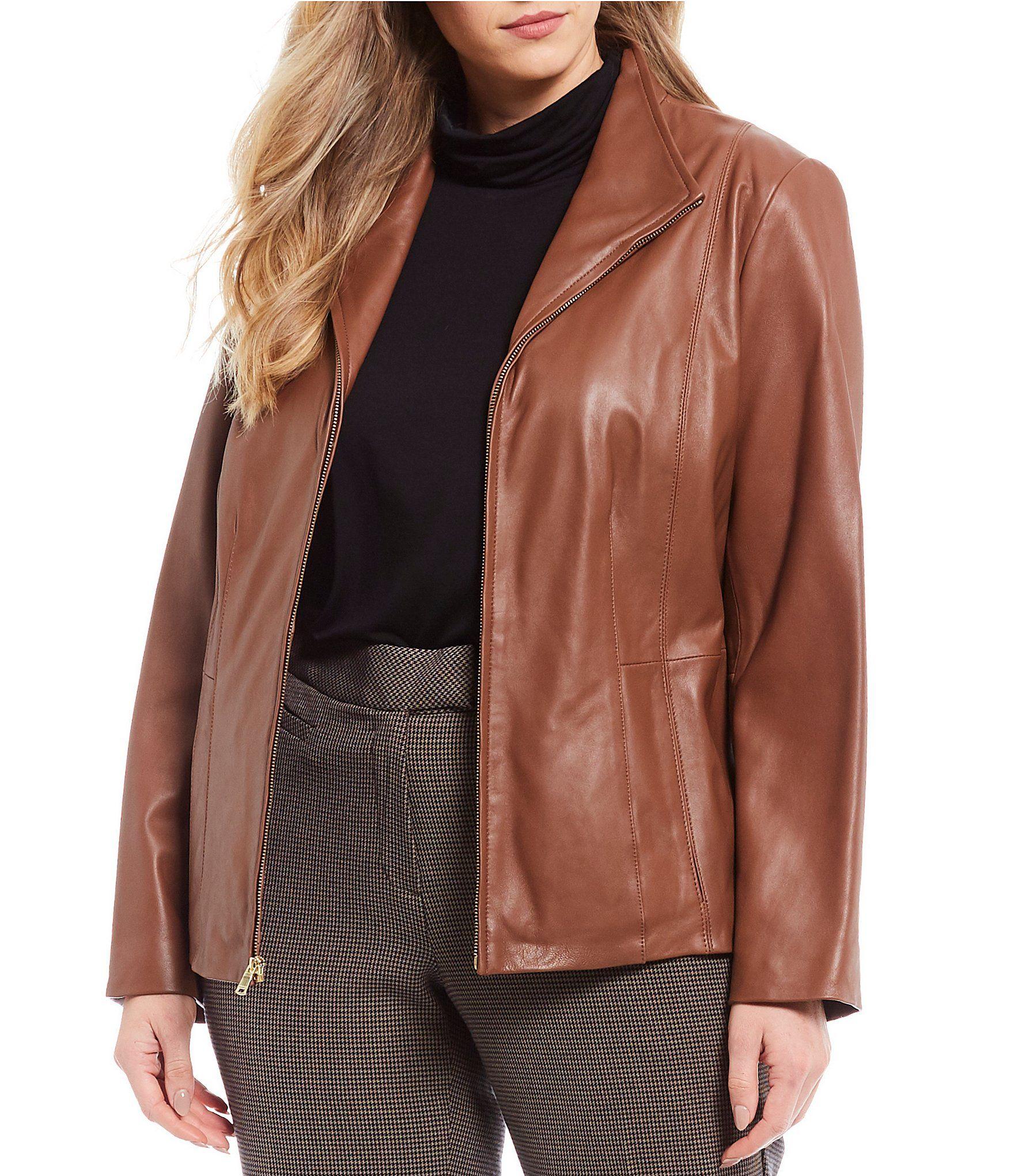 Cole Haan Plus Size Genuine Lambskin Leather Fitted Jacket Dillards In 2020 Workout Jacket Lambskin Leather Lambskin