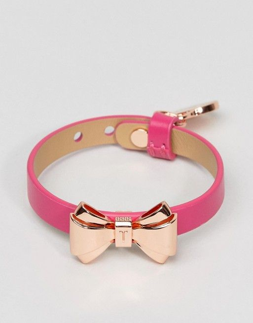 971dba7c3 Ted Baker Curved Bow Leather Bracelet Bow Necklace