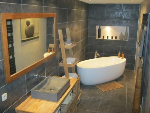 Salle de bain nature zen idee salle de bain pinterest for Idee salle de bain zen et nature