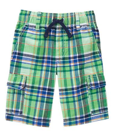 Another great find on #zulily! Jungle Green Plaid Cargo Shorts - Infant, Toddler & Boys #zulilyfinds